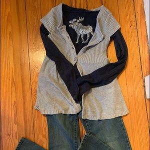 Abercrombie kids cap sleeve cardigan small